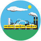 Colorful factory with train picture in round Stock Photos