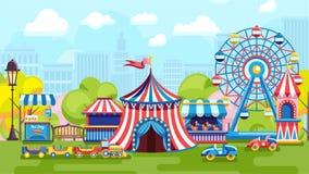 Bright fair in city park royalty free illustration