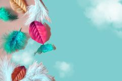 Colorful Fairy Concept Background with Copyspace. Colorful feathers and leaves fairy concept background with space for text stock photography