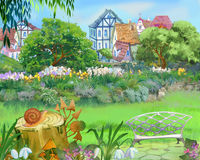 Colorful Fairy Tale Park in the City Royalty Free Stock Photos