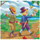 Two fairytale brothers walk down the road hand in hand Stock Image