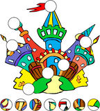 Colorful fairytale castle. complete the puzzle. And find the missing parts of the picture. Vector illustration. Educational game for kids Royalty Free Stock Image