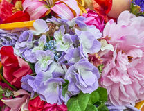 Colorful fake flowers closeup Stock Photography