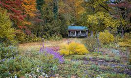 Colorful fall artistry in Pisgah Forest, NC. Colorful fall artistry wiith cabin and autumn hues in Pisgah Forest, NC stock image
