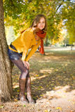Colorful fall fashion woman. Stock Photography