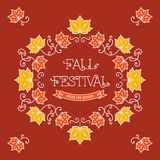 Colorful fall festival template Frame maple leaves Stock Image