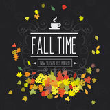Colorful fall red yellow orange color scheme leaves on black background Royalty Free Stock Image