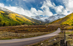 Colorful fall scenic drive near Aspen, Colorado Royalty Free Stock Image