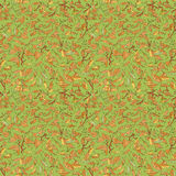 Colorful fallen leaves and branches seamless pattern. Royalty Free Stock Photography