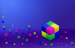 Colorful falling dawn cubes on blue background. Building block of cubes.Vector isometric illustration Royalty Free Illustration