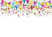 Colorful falling tiny confetti pieces and colored pennants. Vect. Or background Stock Photos