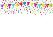 Colorful falling tiny confetti pieces and colored pennants. Vect. Or background Royalty Free Stock Photography