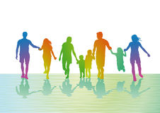 Colorful families out walking royalty free illustration