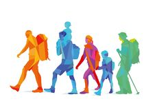 A colorful family of hikers vector illustration
