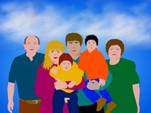Colorful Family Illustration. Illustration of a white/caucasian family in front of a blue sky and cloud background Stock Images
