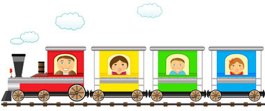 Colorful family train in railroad. Cartoon isolated colorful family train in railroad Stock Photo