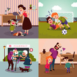 Colorful Family Violence Concept. With different conflicts aggressions quarrels and disagreements vector illustration vector illustration