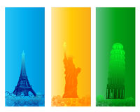 Colorful Famous City Banner. And Backround Stock Image