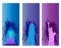 Colorful Famous City Banner. And Backround Royalty Free Stock Image