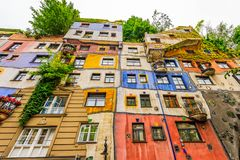 Colorful famous Hunderwasser Haus in Vienna, Austria royalty free stock images