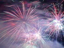 Colorful fancy fireworks Stock Image
