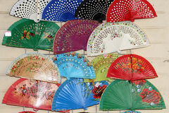 Colorful fans at a street market in Seville, Andalusia, Spain Royalty Free Stock Photography