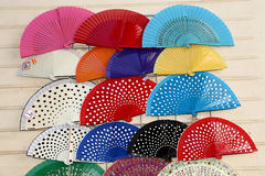 Colorful fans at a street market in Seville, Andalusia, Spain Royalty Free Stock Images