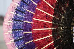 Colorful fans of Venetian lace Royalty Free Stock Photos