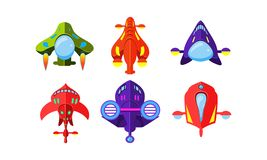Colorful fantasy aircrafts set, airplanes, spaceships, assets for user interface GUI for mobile apps or video games. Vector Illustration isolated on a white royalty free illustration