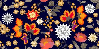 Colorful fantasy folk art style flourish border. Seamless floral pattern with blooming flowers and grey leaves. Stock Illustration