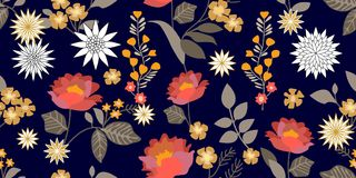 Colorful fantasy folk art style flourish border. Seamless floral pattern with blooming flowers and grey leaves. Vector Illustration