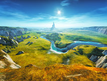 A colorful fantasy landscape Stock Images