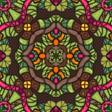 Colorful fantasy seamless symmetrical vector ornamental pattern. Colorful fantasy cartoon style seamless symmetrical Stock Photos