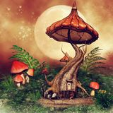 Fantasy tree cottage with mushrooms. Colorful fantasy tree cottage with mushrooms and fern on a green meadow stock illustration