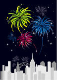 Colorful fareworks over the city. A illustration of fireworks over the city Royalty Free Stock Images