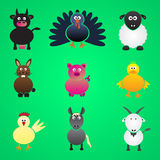 Colorful farm animals simple icons set Royalty Free Stock Photo