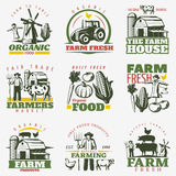 Colorful Farm Emblems Set vector illustration