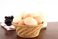 Colorful Farm Fresh Eggs In A Basket Royalty Free Stock Image