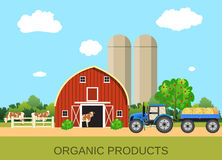 Colorful farm life with natural economy. Farm flat landscape. Organic food concept for any design, web, agricultural application Royalty Free Stock Photo