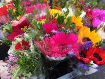 Colorful farmers market bouquets. Amazing colors of pink, yellow, white, green, red and purple flowers arranged royalty free stock photos