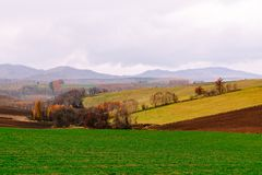 Colorful farmland in hills. Terrace of farmland in different colors in Autumn, Hokkaido, Japan royalty free stock photo