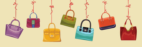Colorful fashion handbags. Autumn Vector Royalty Free Stock Image