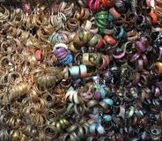 Colorful fashion jewelry on display in India stock photography
