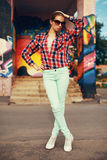 Colorful fashion photo pretty stylish woman posing Stock Image