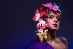 Colorful fashion portrait of attractive young beau Royalty Free Stock Photos