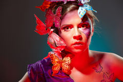 Colorful fashion portrait of young beauty Stock Images