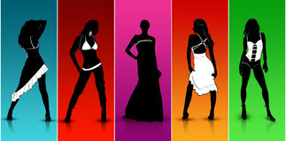 Colorful Fashion Show. Models walking in Colorful Fashion Show royalty free illustration