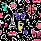 Colorful fashion signs Seamless pattern modern design. Vector illustration Abstract texture girly stickers. Bright Paris cosmetic. Colorful fashion signs vector illustration