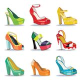 Colorful fashion women's High heel shoes.White background Royalty Free Stock Image