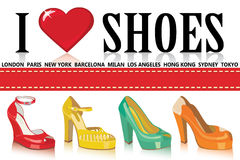 Colorful fashion women shoes.Fashion illustration Royalty Free Stock Image
